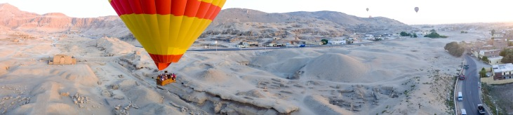 Hot air balloon ride over Luxor.