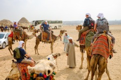 Everyone ready for our camel ride.