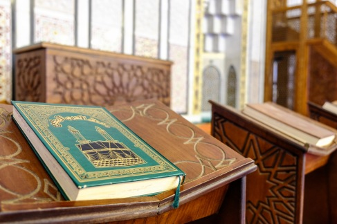 Qurans in a row in the Mosque.