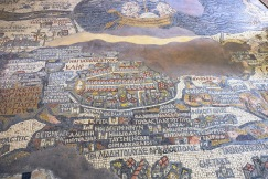 The mosaic in the church of St. George, the oldest map of Palestine.