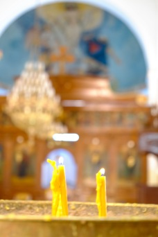 Prayer candles in the church of St. George.