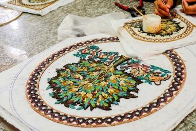 A quick stop at a mosaic shop in Jordan.