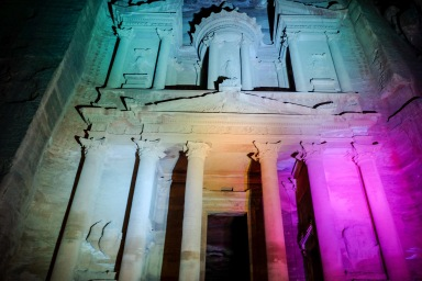 The Treasury lit by the multi-colored lights on the night tour.
