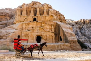 One of the first facades of the daytime tour in the lost City of Petra.