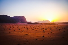 Wadi Rum at sunset.